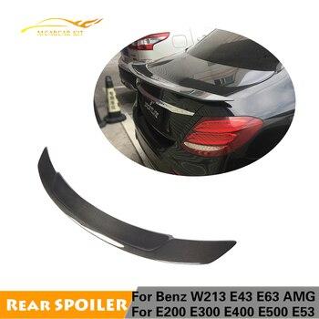 For Mercedes-Benz E Class W213 E200 E300 E400 E500 E43 E53 E63 AMG S 4-Door 2016 - 2019 Carbon Fiber Rear Trunk Spoiler Boot Lip