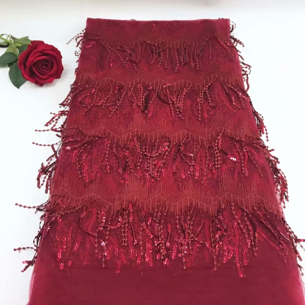 Most popular African Tulle Lace Fabric Burgundy Wine redWedding Lace Fabric African fashion Sequins Lace Fabric