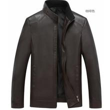 M-4XL Горячая зима Мужская Новая мода Досуг среднего возраста воротник PU кожаная куртка