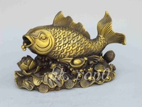 Exquisite Chinese Feng Shui brass carp annual surplus lotus Money Lucky Statue