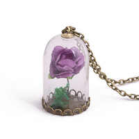 24 Pcs/Lot Beauty and the Beast Necklace Rose in Terrarium Pendant His Beauty/Her Beast Valentines Day Jewelry Bulk Wholesale