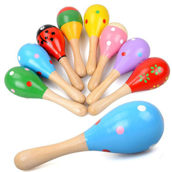 New cartoon wooden baby rattle toys hammer exercise hearing aural bell