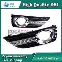 Free shipping !12V 6000k LED DRL Daytime running light case for Toyota Camry 2012 fog lamp frame Fog light Car styling