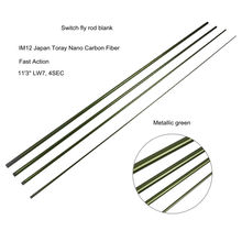 """Aventik 11'3"""" LW7 IM12 Nano Carbon Fiber Switch Fly Fishing Rod Blanks 4 Sections Fast Action Fly Rods Blank Metallic Green"""