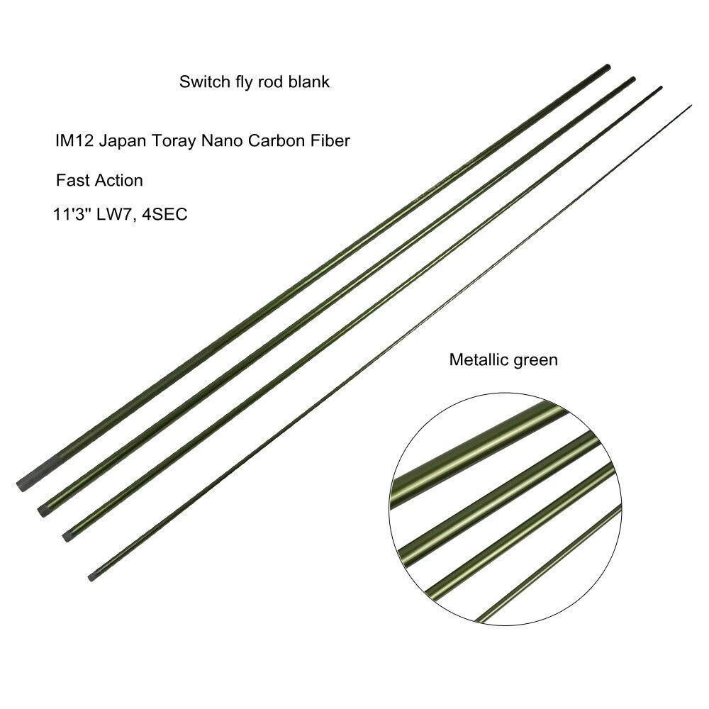 Aventik 11'3'' LW7 IM12 Nano Kohlefaser Schalter Fliegenfischen Blanks 4 Abschnitte Schnelle Action Fliegenruten Blank Metallic grün