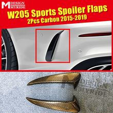 W205 Rear spoiler Flaps Air Flow Vent 2-Pcs Carbon fiber black For Benz C-class C180 C200 C230 C63 Splitter 15-in
