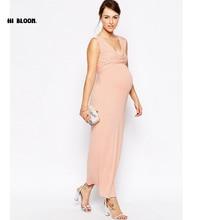 Pascua v-cuello de la ropa de maternidad vestido de noche para las mujeres embarazadas embarazo agradable vestidos de maternidad partido prom dress