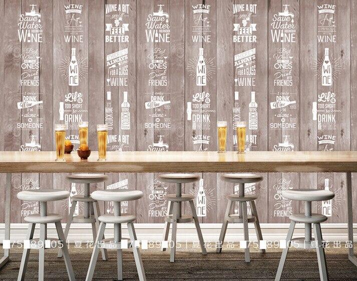 Custom vintage wallpaper, wood grain hand painted beer bottles for the living room bedroom background wall waterproof wallpaper custom baby wallpaper snow white and the seven dwarfs bedroom for the children s room mural backdrop stereoscopic 3d