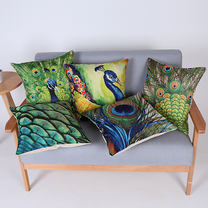 Peacock cushion cover cojines cushion pillow cover for Cojines sofa exterior