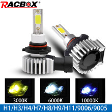 Racbox Car Headlight Bulb LED H7 H1 H3 H4 H11 H8 COB Chip Canbus Mini Auto Turbo Super Lamp 3000K 6000K 10000K Hb4 Hb3 9005 9006(China)