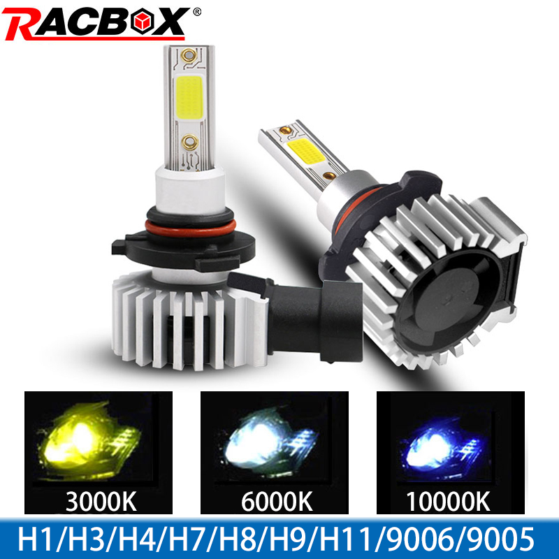 Racbox Car Headlight Bulb LED H7 H1 H3 H4 H11 H8 H27 880 Auto Turbo Super Mini Lamp Refit 3000K 6000K 10000K HB4 HB3 9005 9006
