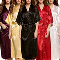 Plus Size Brand Bathrobe Women Men Kimono Silk Satin Long Robe Bridesmaid Robes Sexy Lingerie Dressing Gown Nightgown Sleepwear