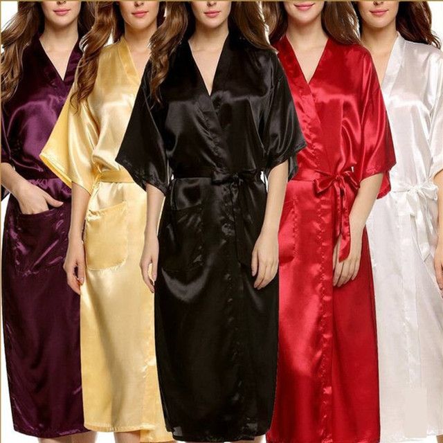 Plus Size Brand Bathrobe Women Men Kimono Silk Satin Long Robe Bridesmaid Robes  Sexy Lingerie Dressing 8f4146712f82