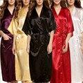 Plus Size Da Marca Mulheres Homens Roupão Quimono de Cetim De Seda Robe Longo Da Dama de honra Robes Sexy Lingerie Roupão Camisola Sleepwear