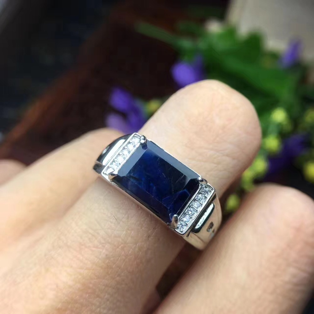 Free Shipping Natural Sapphire Ring 925 Sterling Silver Wholesales Fine Jewelry Natural Sapphire Man Ring 7*9mm
