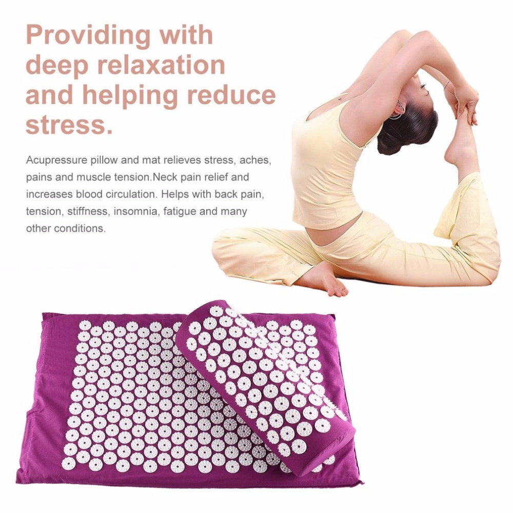 Body Head Foot Neck Massager Cushion Mat Set Acupressure Relieve Stress Pain Aches Muscle Tension Spike Yoga Mat With Pillow jyt magic hand massager stimulate acupoint relieve aches water proof vibration grab head knead shoulder pinch neck spa