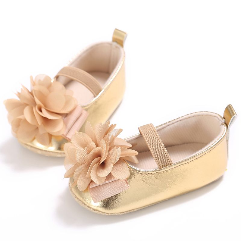 Newborn Baby Girl Shoes Baby Moccasins PU Soft Soled Flower Pink Cotton Shoes Infant Toddler First Walker For Baby 0-18 Months