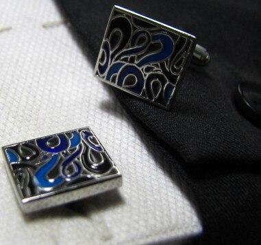 Прямоугольная эмаль крашеные Запонки Синий индивидуальный Жених подарки