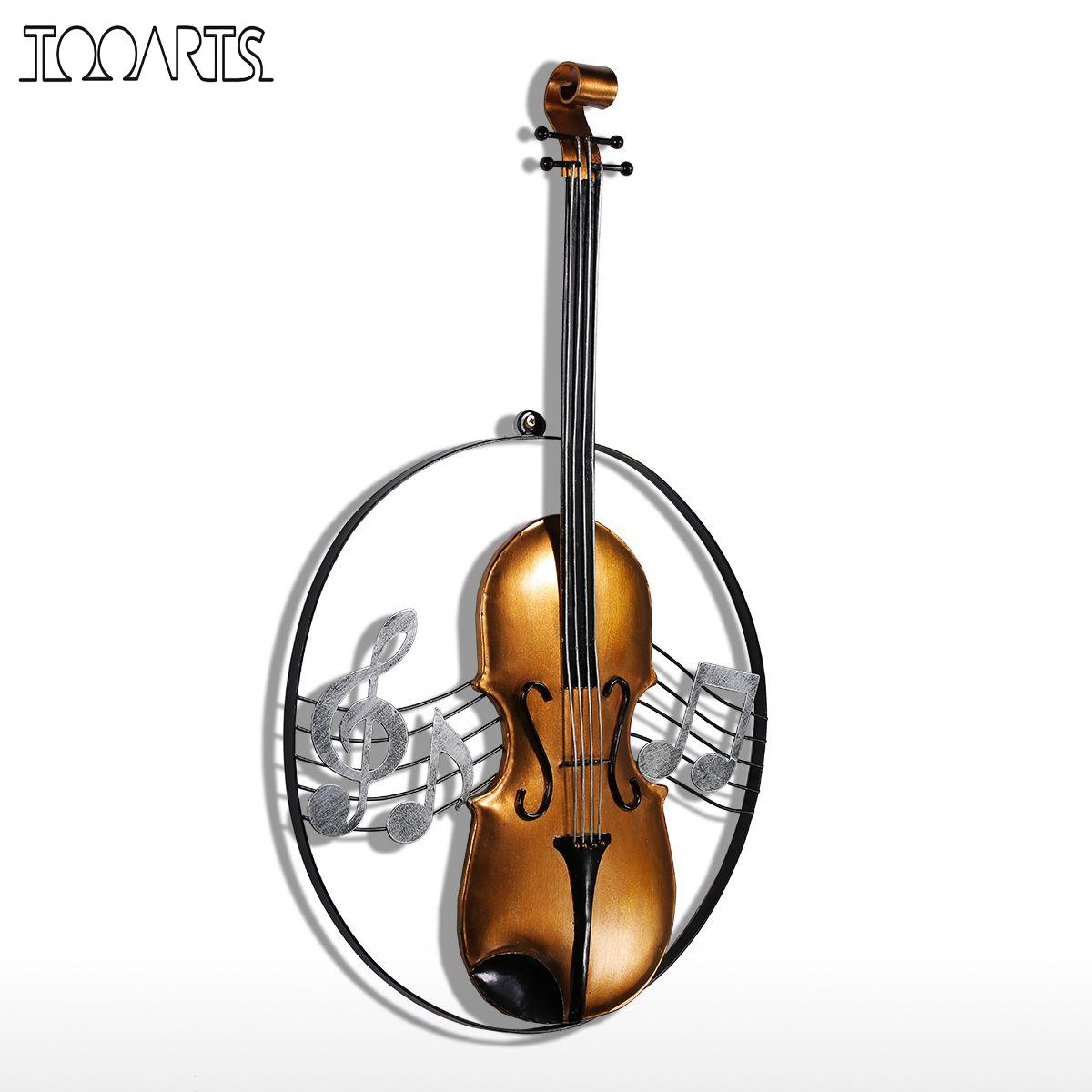 Violin christmas ornaments - Tooarts Metal Wall Sculpture Violin Hanging Ornament Home Decor Wall Hangings Decor Music Instrument Craft Gift