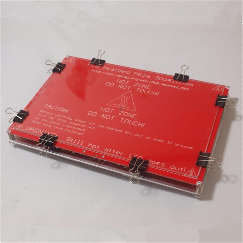 Prusa i3 RepRap 3D Imprimante chauffée lit mise à niveau complète kit chauffée lit + Y Transport Plaque XL 300x200mm + plaque de verre avec vis/titulaire