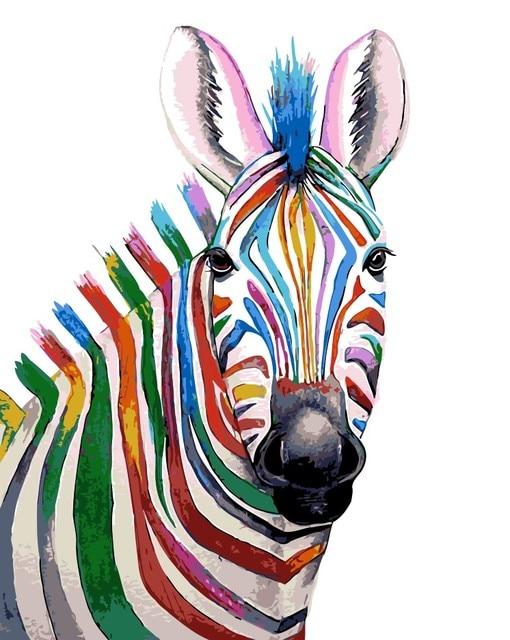Abstrakte Pony Bunte Zebra Malen Nach Zahlen Naturlichen Tier