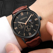 Lady New Fashion Female Clock Fashion Men Date Alloy Case Synthetic Leather Analog Quartz Sport Watch Elegant Populor Clock %A(China)