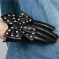 Новый Лето осень Женщины искусственная кожа вождения панк rivert lovely лук узел перчатки варежки женские перчатки