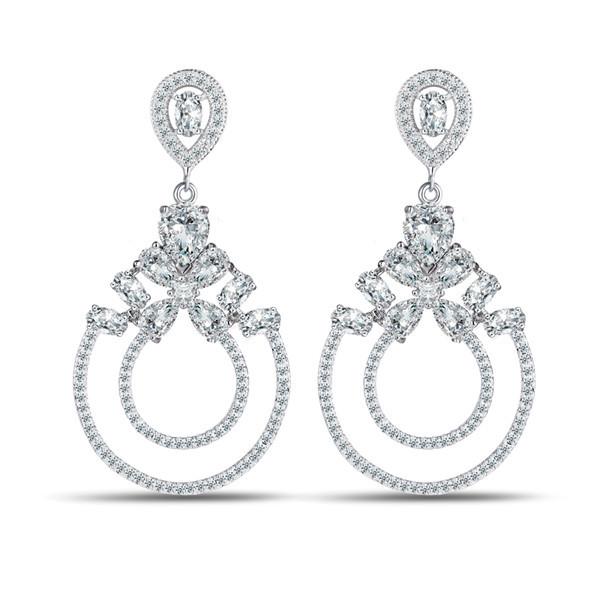 JM Platinadas CZ Cristal JÓIAS 6 Cores de Luxo 1.5 Ct Círculos Brincos Gota Vintage Para Presente de Casamento Da Noiva Do Partido