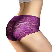 Exotic Apparel Sexy Panties Women Lace Low-Rise Solid Briefs Jacquard Breathable Hip-lift Underpant