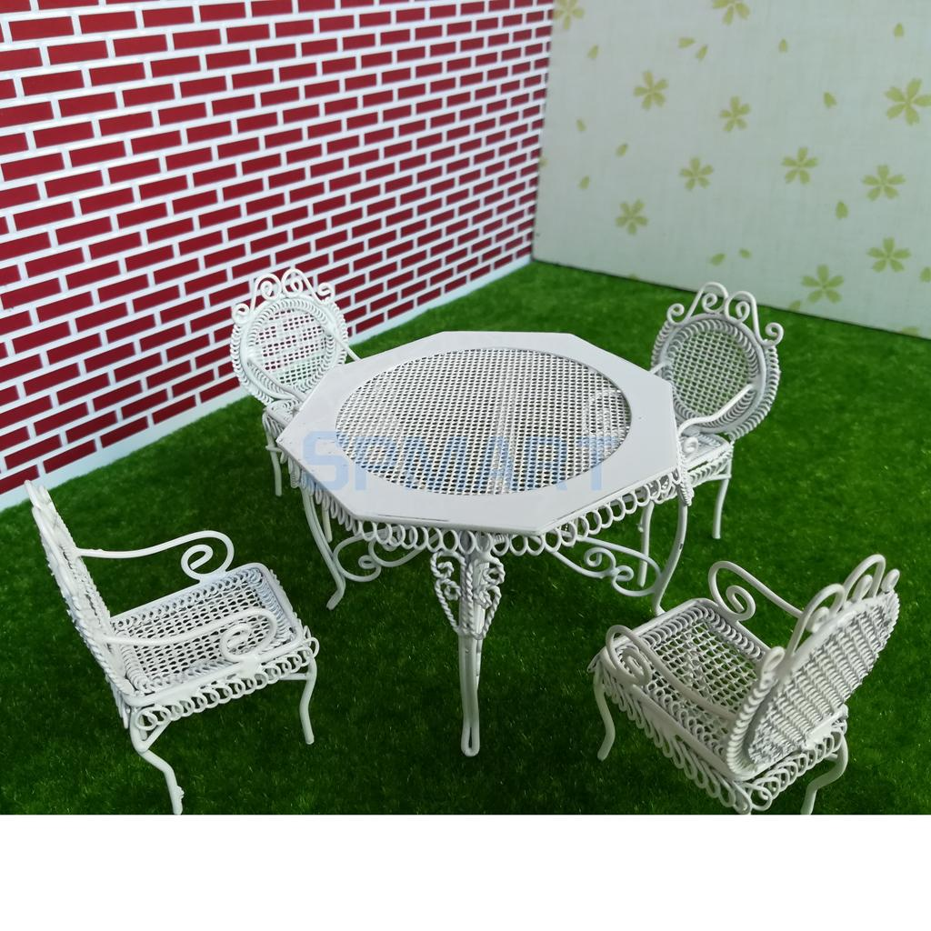 1/12 Scale Dollhouse Miniature Furniture White or Black Octagonal Table with 4 Chairs Model Set for 12th Dolls House Accessory
