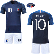 584f5f16156 SEXEMARA Children sportswear Soccer Short Sleeve 2018 France blue Clothes  man Jerseys Kids Football Shirts  Shorts