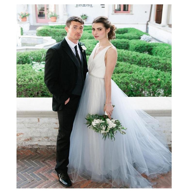 2019 New Spaghetti Strap Beach Wedding Dresses Vestido Noiva Praia Elegant Tulle Casamento Bridal Gowns Custom Made