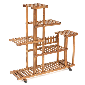 Indoor Outdoor Garden Bamboo Plant Flower Pot Stand With Wheels Planter Nursery Pot Stand Shelf Garden Decoration Gifts Tools end table