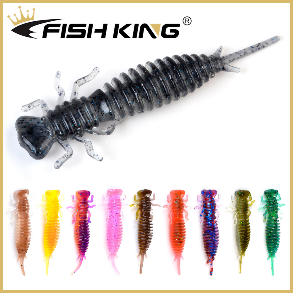FISH KING Larva Soft Lures 50mm 76mm 89mm Artificial Lure Fishing Worm Silicone Bass Pike Swimbait Jigging Odor Attractant Baits