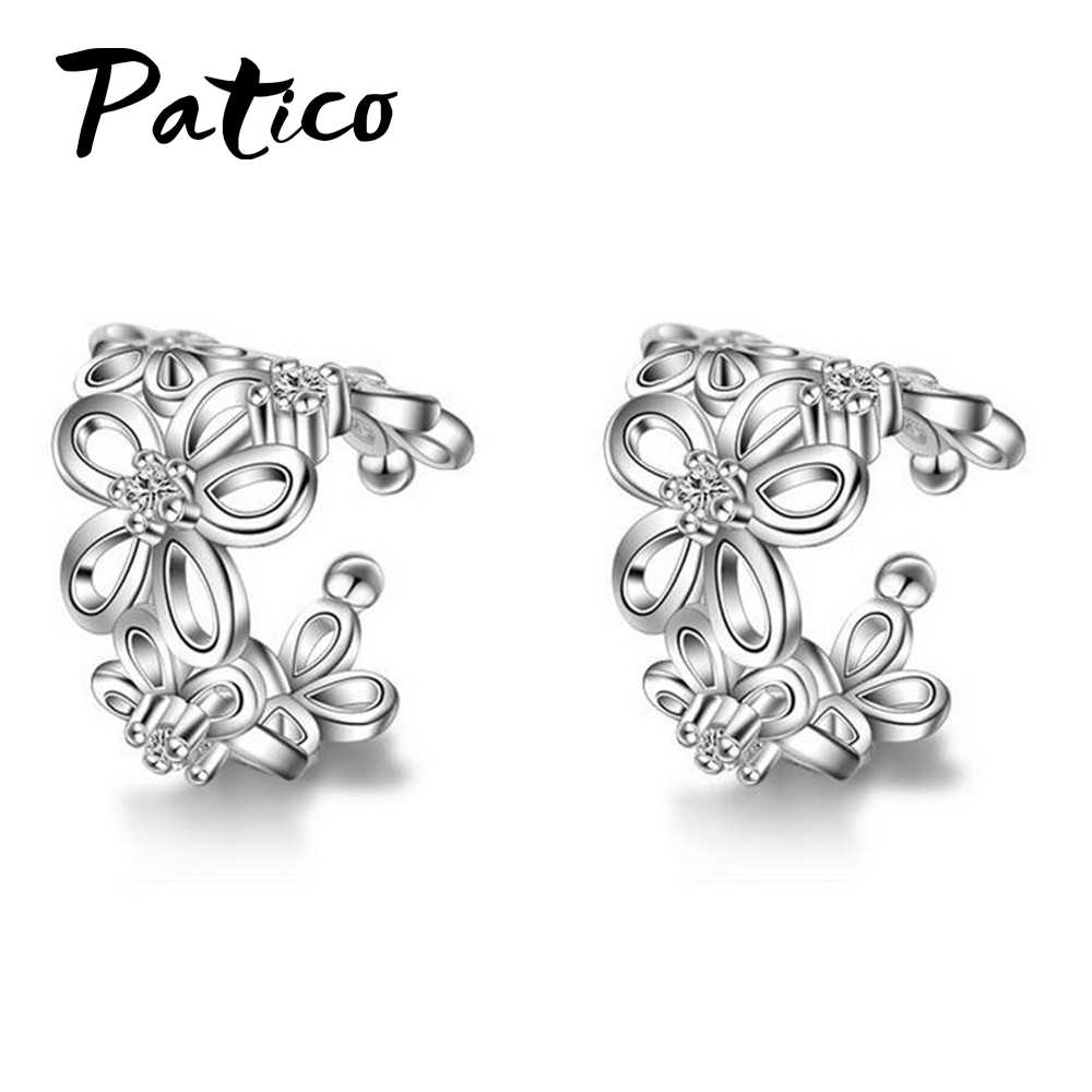 Vintage 925 Sterling Silver Rose Gold Ear Cuff Punk Clip Earrings Small Flower Hollow Charm Brincos Best Sale Jewelry For Women