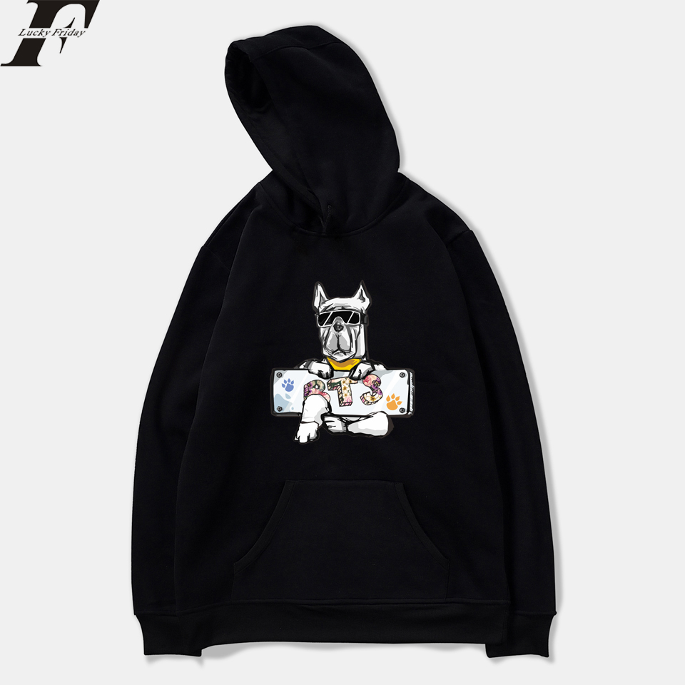 LUCKYFRIDAYF 2018 BTS DOG New Design Kpop Women Sweatshirts Hoodie Funny Harajuku Casual Hoodie Men/Women Printing Anime Clothes