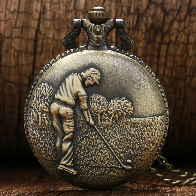 Retro Bronze 3D Golfing Theme Quartz Fob Pocket Watch With Necklace Chain Best Gift To Golfer Men