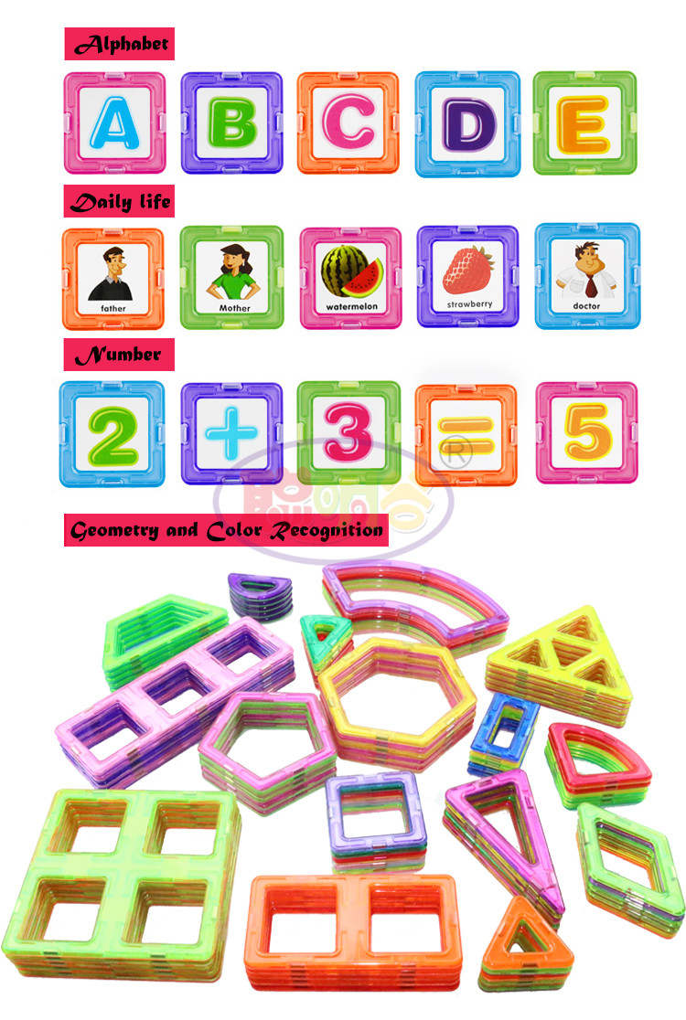 CongMingGu 21Pcs/38Pcs standard size magnetic building blocks Model Building Toys Brick designer Enlighten Bricks magnetic toys 5