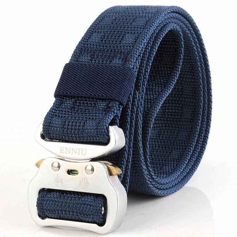 Алюминиевая пряжка, БЫСТРОРАЗЪЕМНАЯ Пряжка, тактический Мужской ремень, армейский ремень для фанатов, многофункциональные ремни, нейлоновый ремень для занятий спортом на открытом воздухе, тренировочный ремень, 3,8 см - Цвет: Sapphire Blue