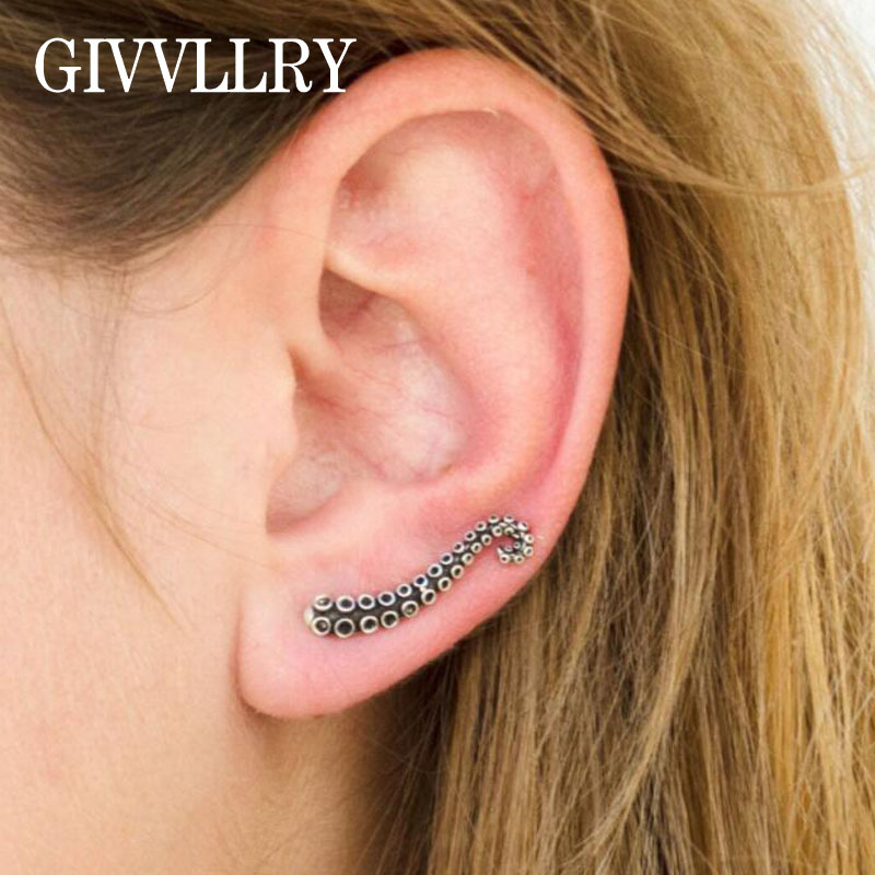 GIVVLLRY Vintage Octopus Tentacle Earring Fashion Jewelry Creative Antique Silver Color Geometric Stud Earrings for Women Men