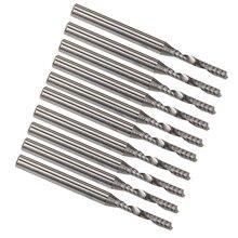 10 pces 2mm cnc fresagem de carboneto único flauta espiral bit