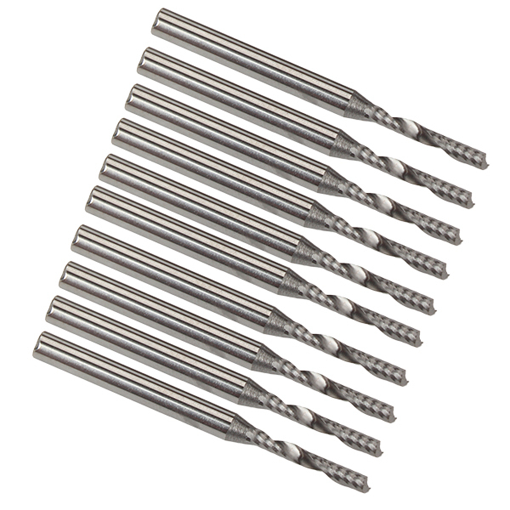 10pcs 2mm CNC Milling Carbide Single Flute Spiral Bit