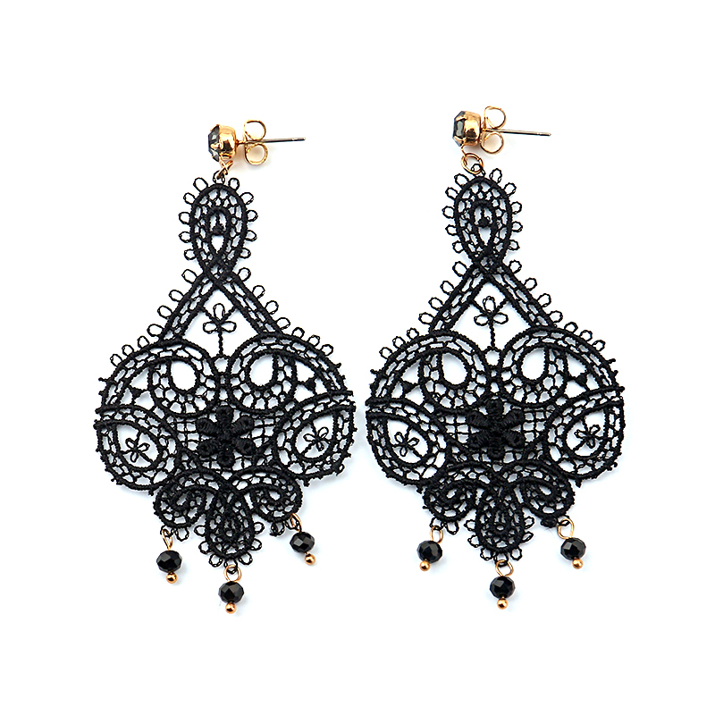 LWONG New Vintage Hollow Out White Black Lace Drop Earrings for ... 3ab5ab6e9410
