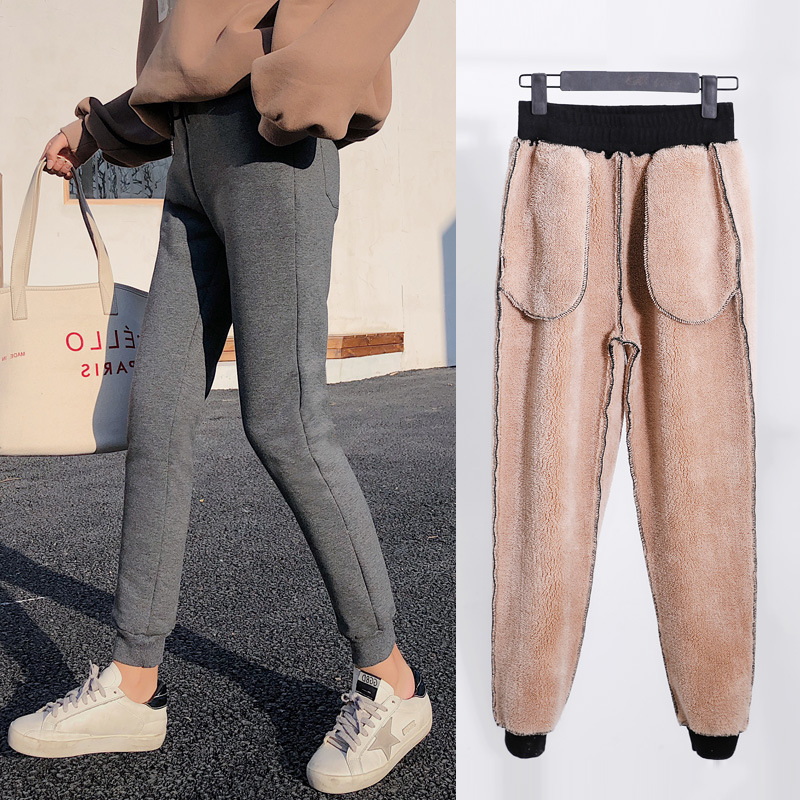 Winter 2019 Women Pants Lambs Cashmere Sweatpants Female Thickening High Waist Stretch Pants For Women Black Ladies Trousers in Pants amp Capris from Women 39 s Clothing