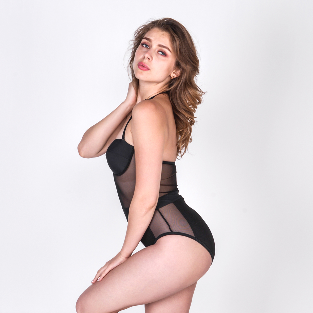 4bbe835cec6 US $26.62 48% OFF|Women's bathing suit net gauze black sexy one piece  swimsuit chest perfect -in Body Suits from Sports & Entertainment on ...