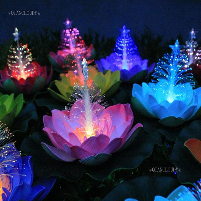 5 pieces Artificial LED Light Optic fibre Lotus Leaf flowers Lily Christmas  Tree Star Waterproof pond wedding decoration D50 - 5 Pieces Artificial LED Light Optic Fibre Lotus Leaf Flowers Lily