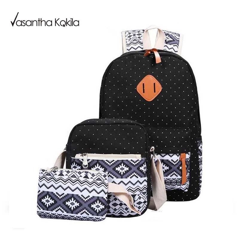 Girl School Bags For Teenagers backpack set women shoulder travel bags 3 Pcs Set rucksack mochila
