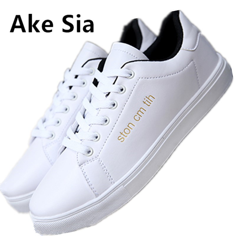 Ake Sia 2017 autumn new Plate shoes Korean trend low help fashion casual shoes  men's Breathable laces leather white shoes 2016 new summer a solid color low to help fashion trend cozy outdoor casual shoes women