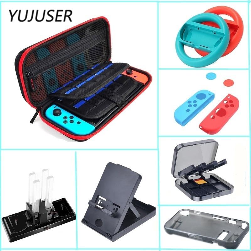 YUJUSER 1 Set Kit d'accessoires de Protection pour interrupteur ntint inclus sac de transport 6 en 1 Dock de chargement, étui en TPU, volant