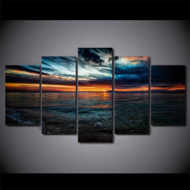 5 Stücke HD Gedruckt Seascape Abend Strand Eingerahmt Wand Poster Bild  Moderne Wohnkultur Leinwand Gemälde Für